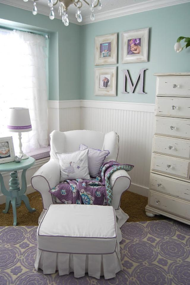 Shabby nursery room in lavender