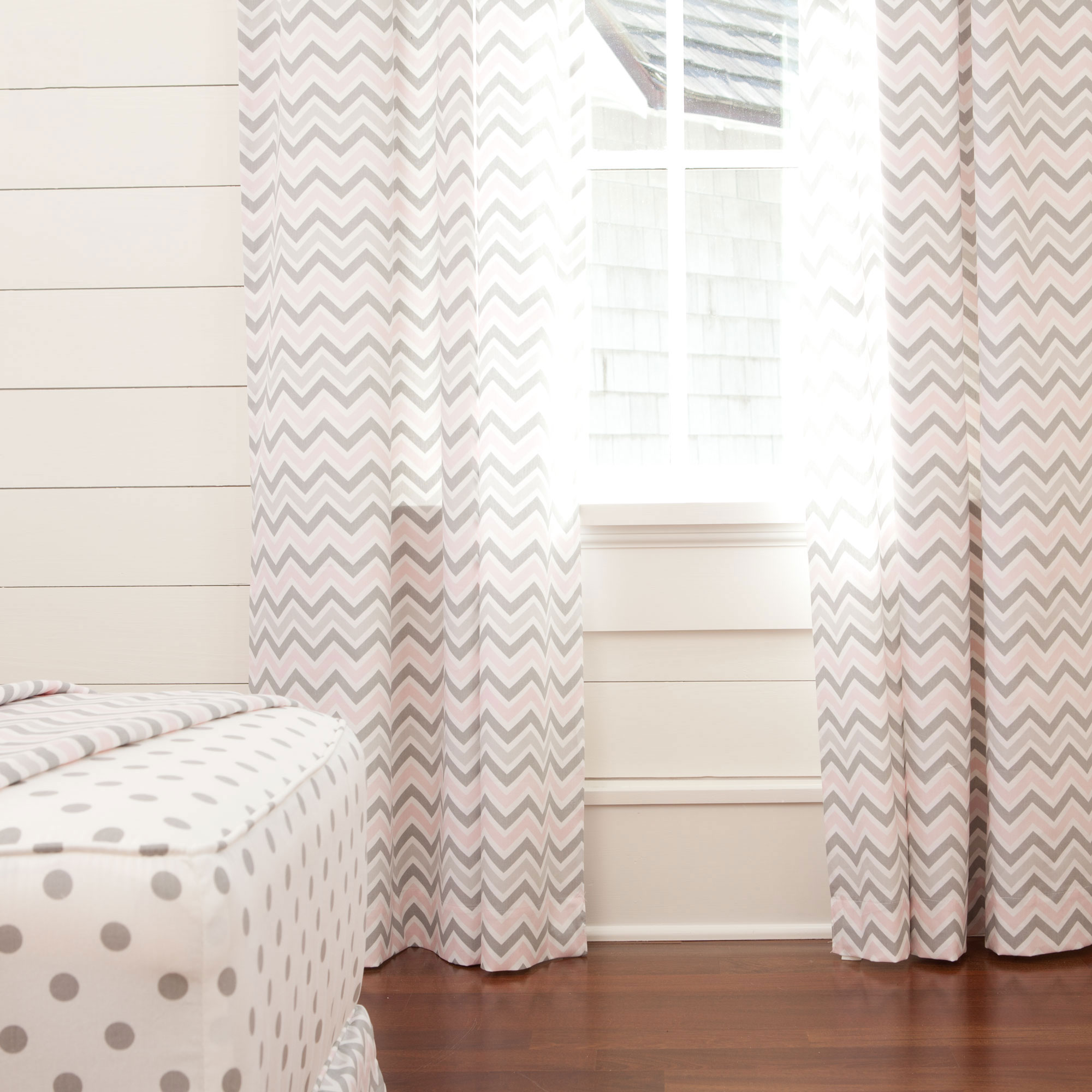 Shades of grey and pink on chevron curtains