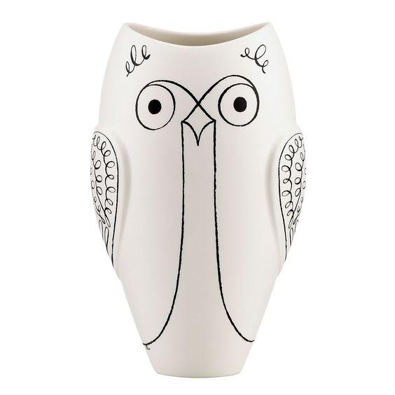 Sketched owl vase