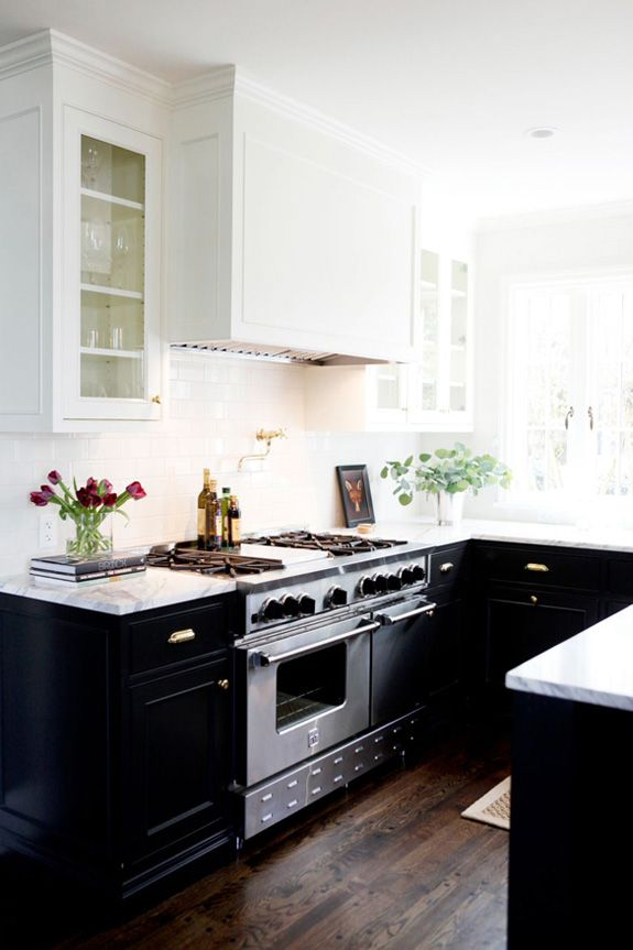 Small black cupboards kitchen