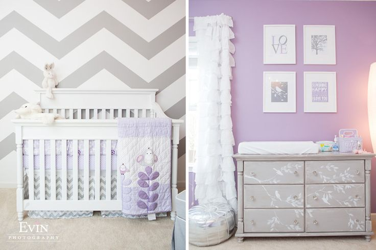 Soft decor for a nursery room in lavender