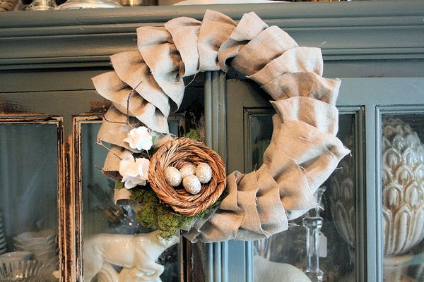 Spring - Easter wreath from burlap
