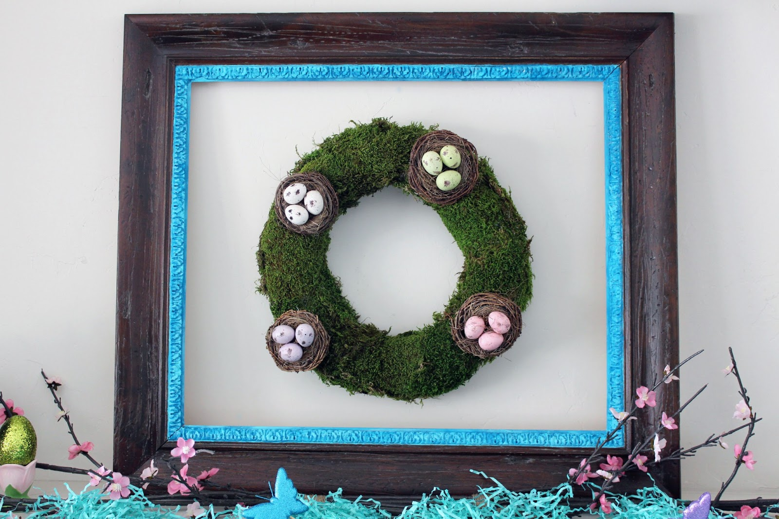 Spring mantel wreath from moss