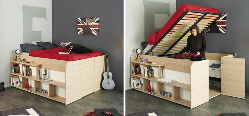 clever bed designs with integrated storage for max efficiency. Black Bedroom Furniture Sets. Home Design Ideas
