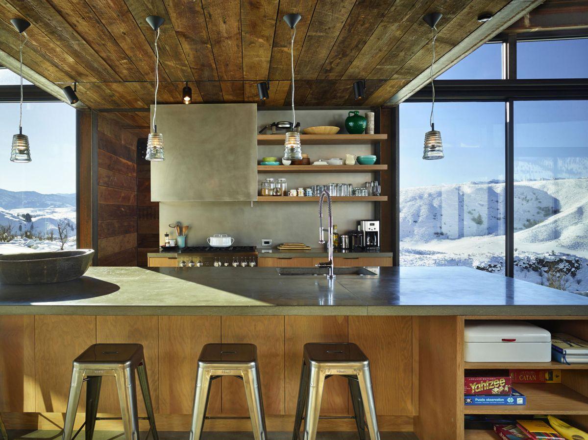 Studhorse residence kitchen shelves and island