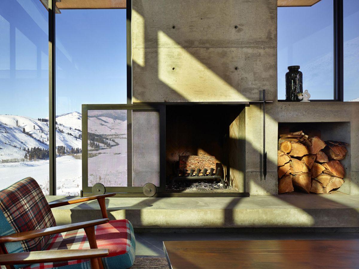 Studhorse residence stone fireplace