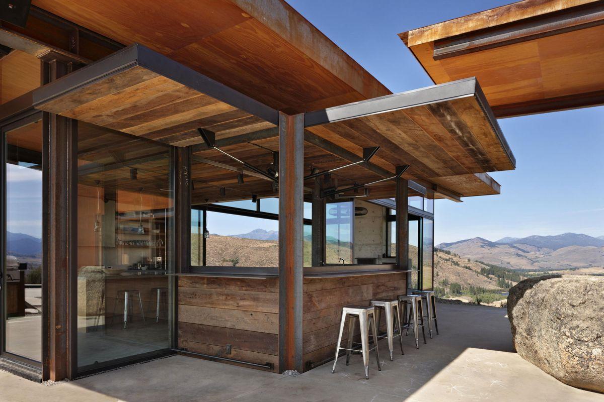 Studhorse residence wood siding open bar