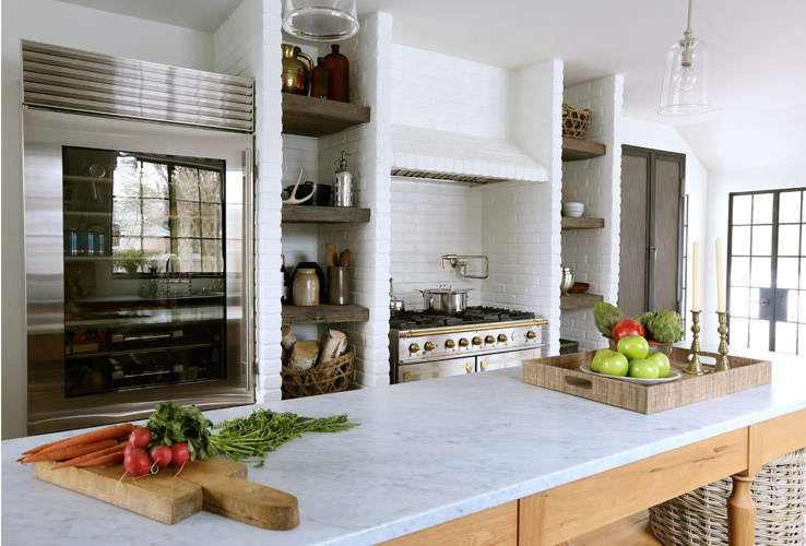 Summer kitchen design with built in space for shelves