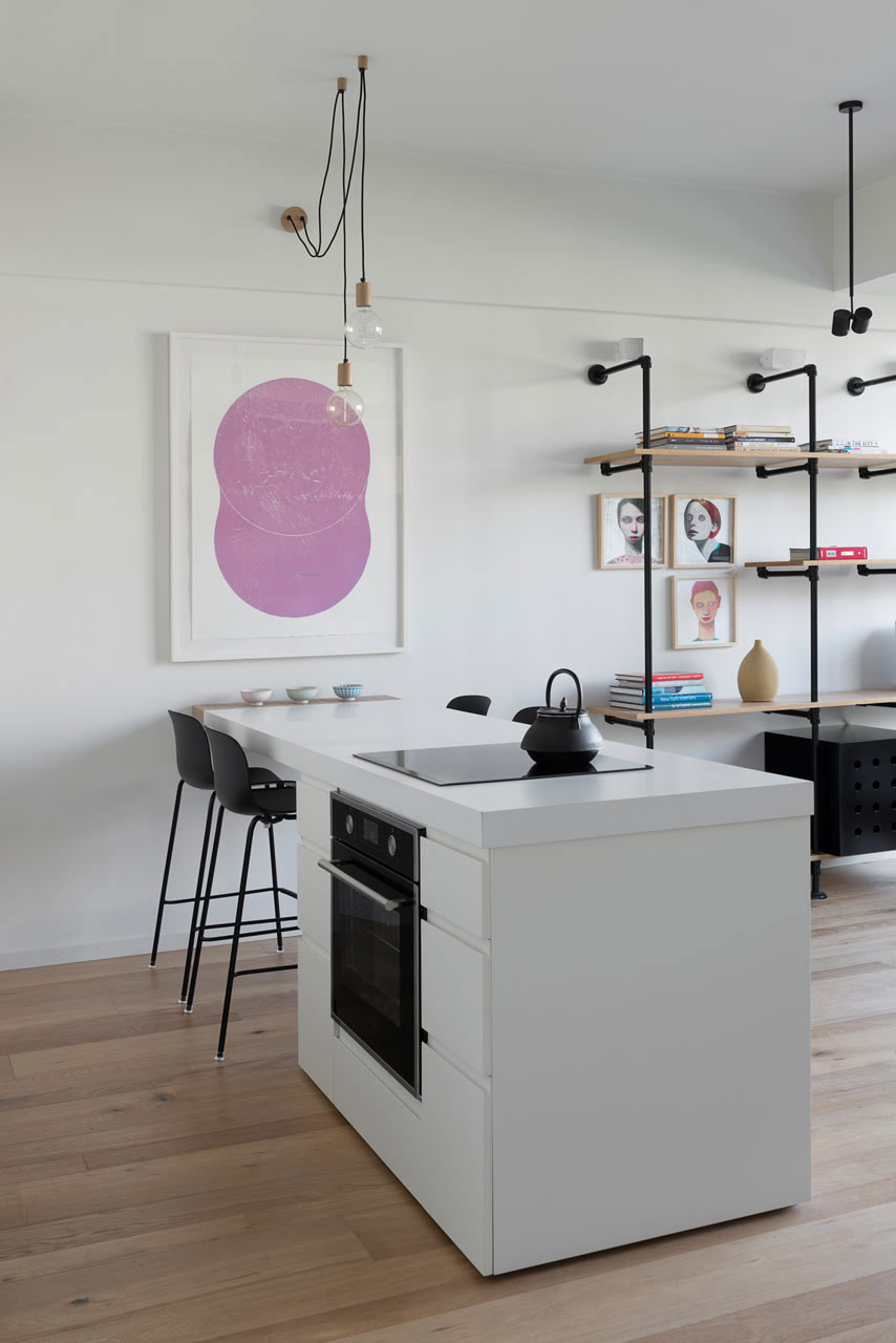 Tel Aviv apartment with Japanese design influences - kitchen island