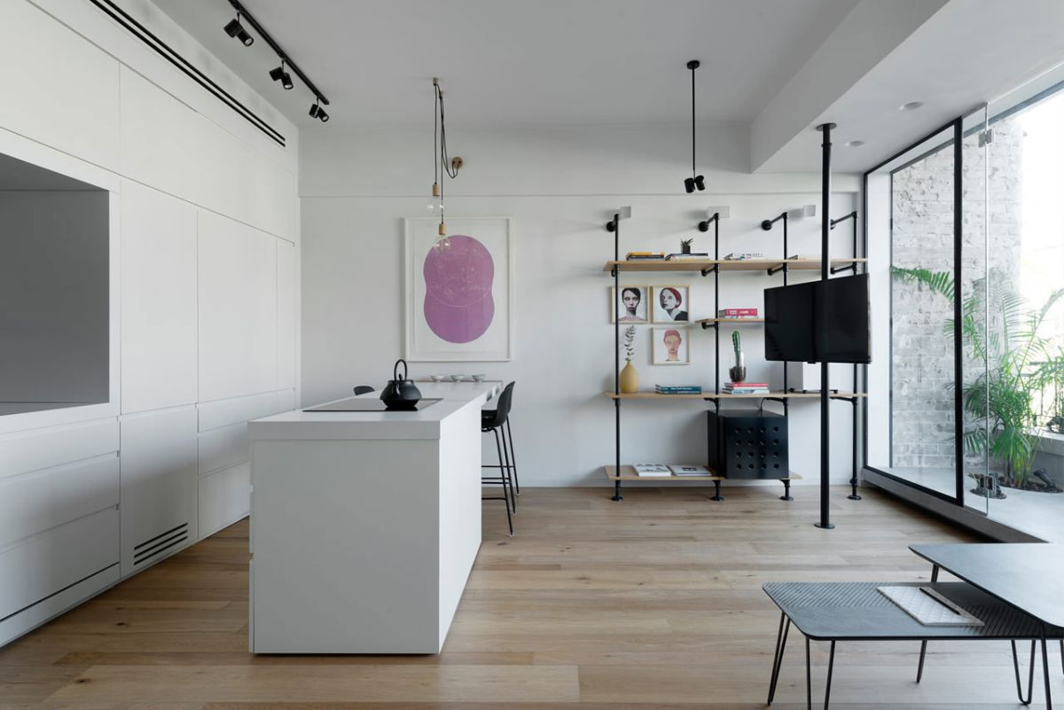 Tel Aviv apartment with Japanese design influences -pipe shelving and TV
