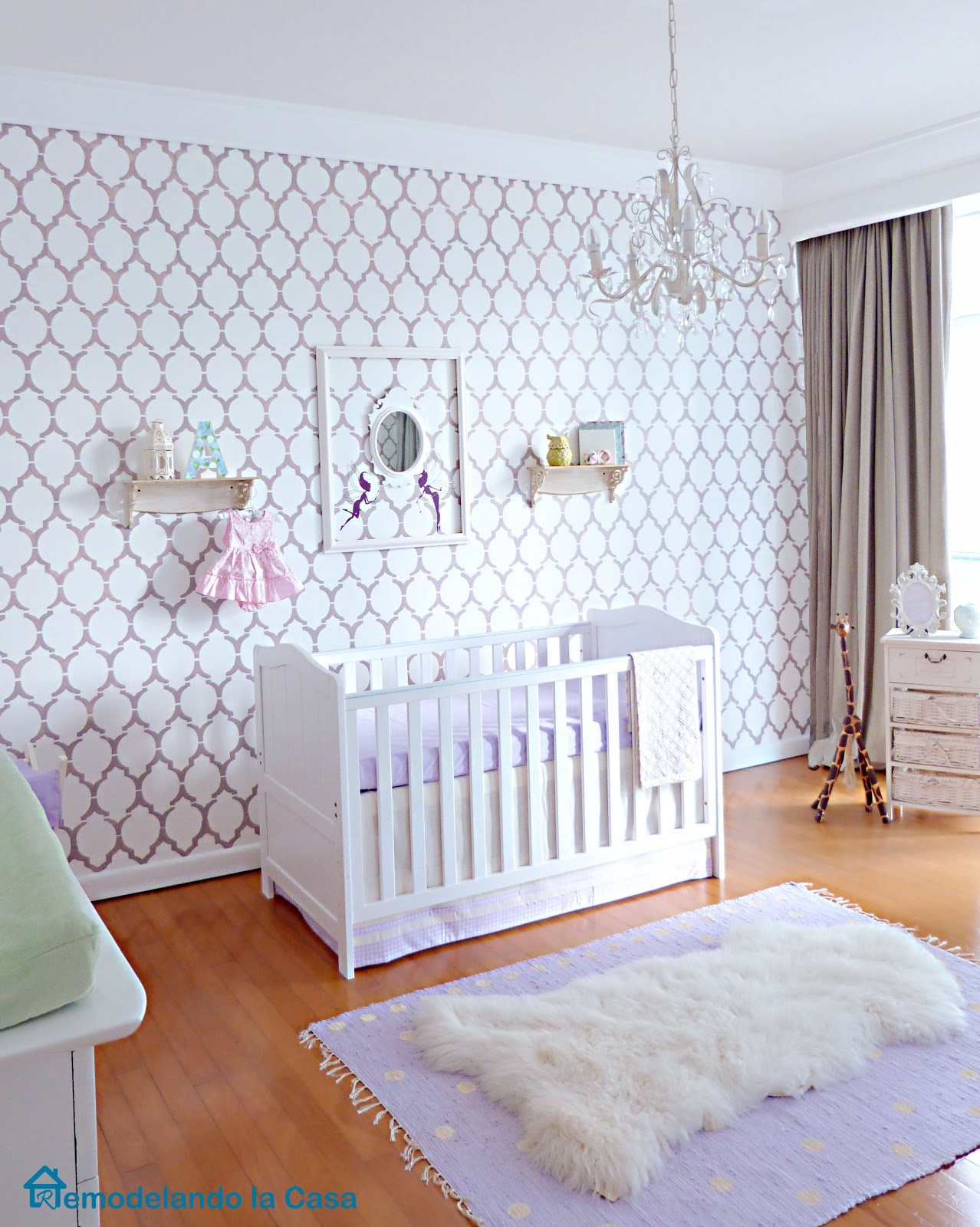 Textured stylish nursery room in lavender
