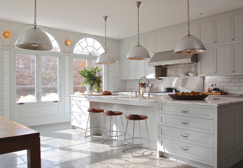 Traditional kitchen with larger lampshades