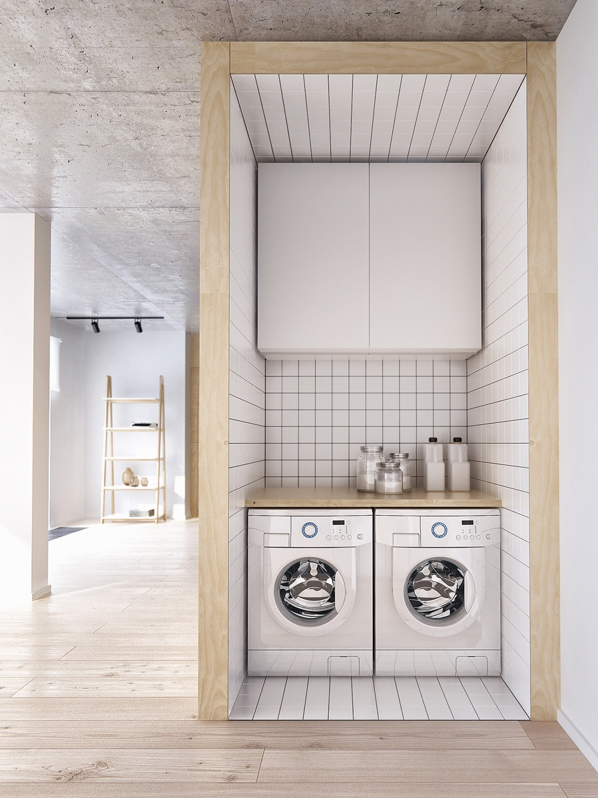 Trendy Modern Small Space Laundry Area With Subway Tiles