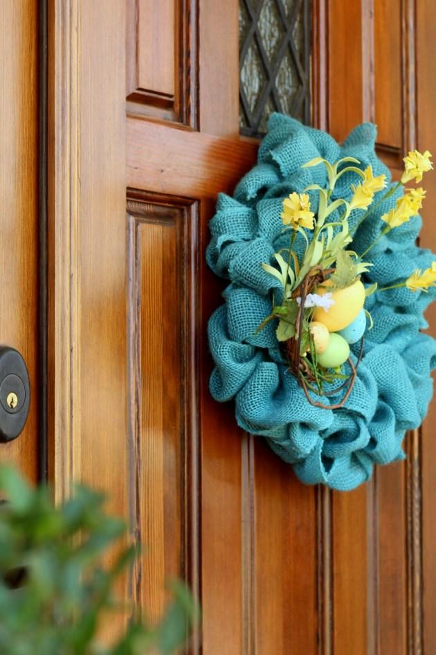 Turquoise burlap wreath