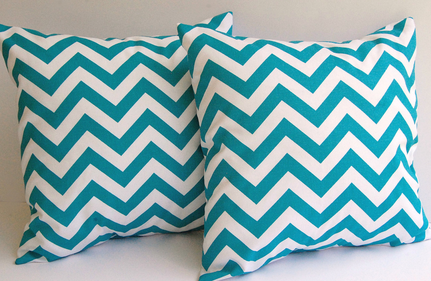 Turquoise chevrons on pillows
