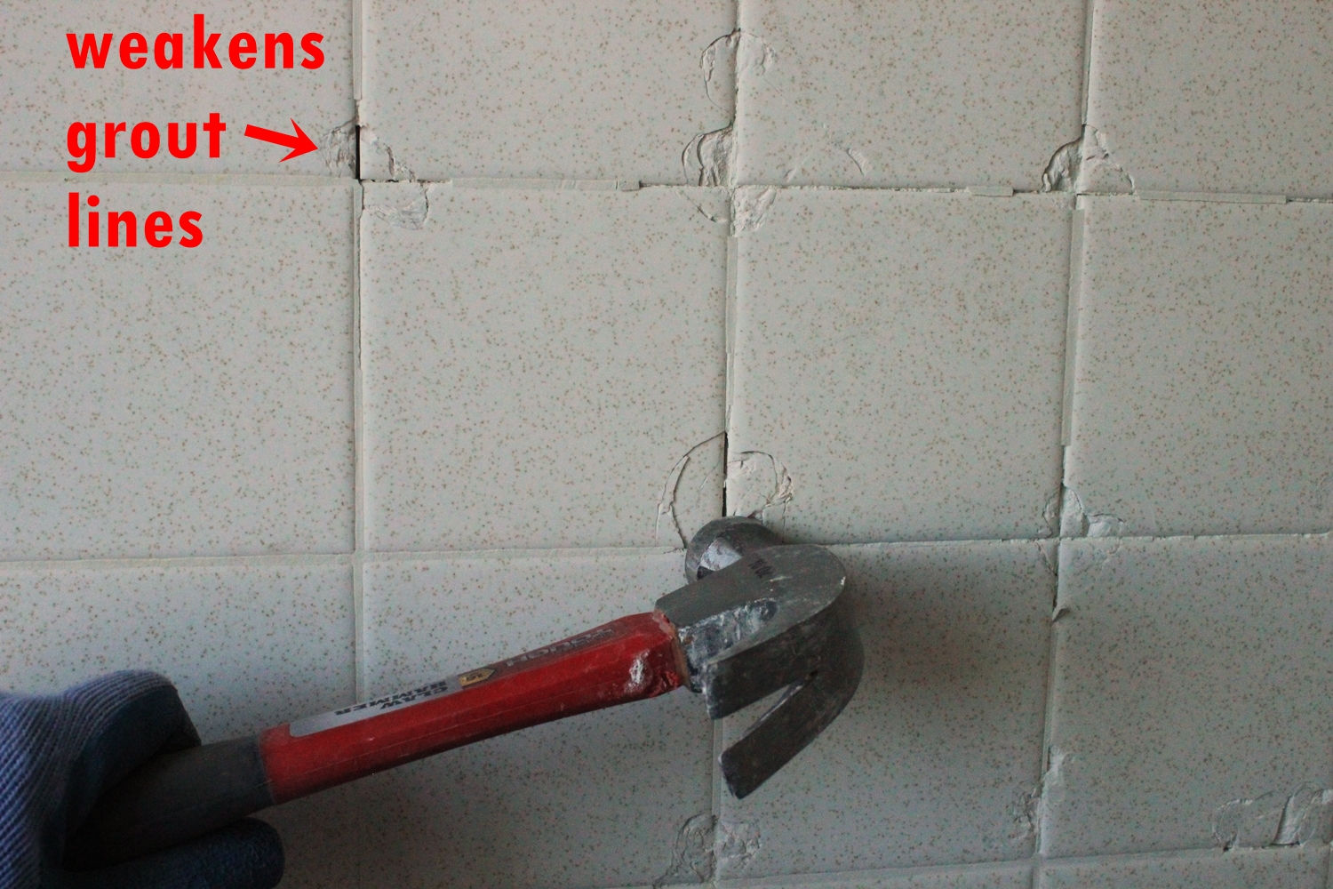 Weakens grout lines