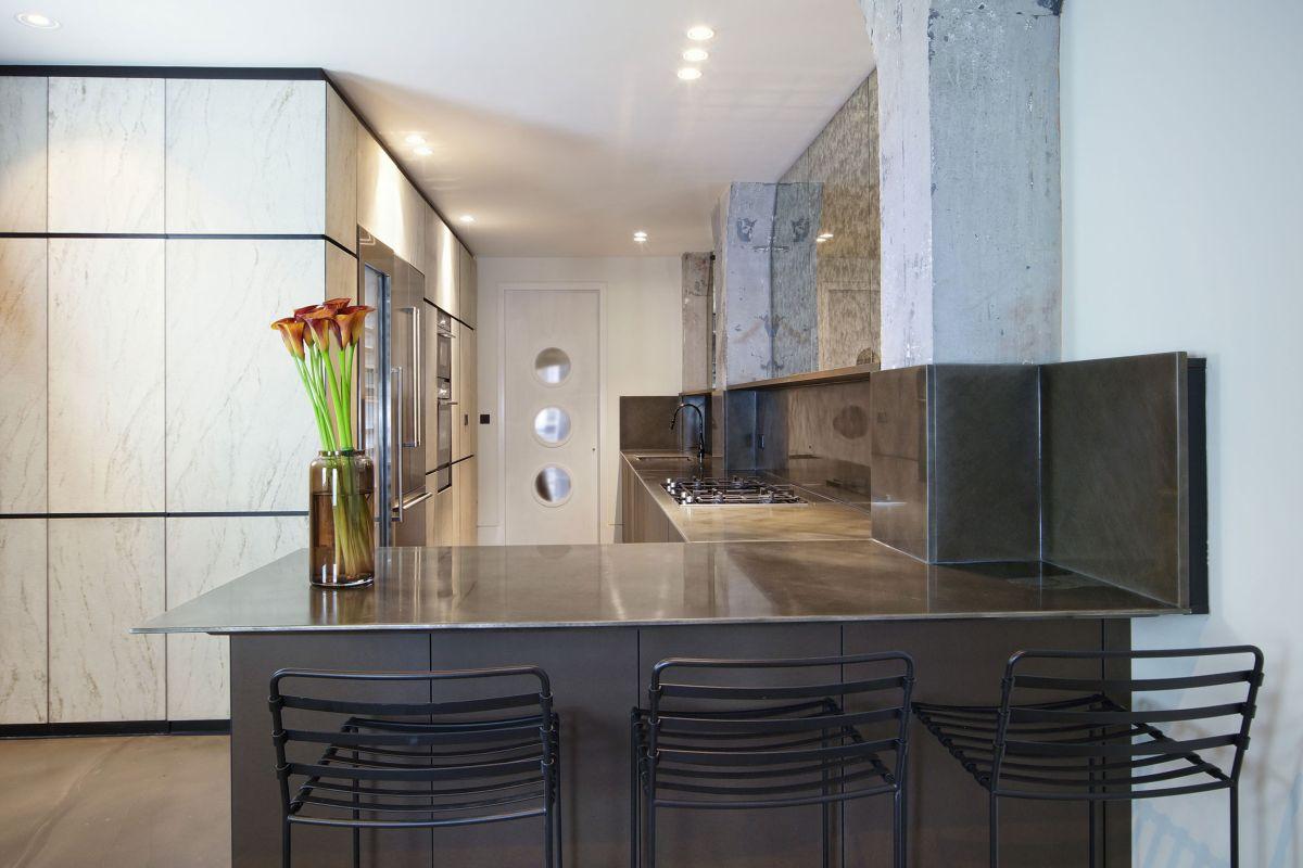 West Apartment Ransome's Dock kitchen interior