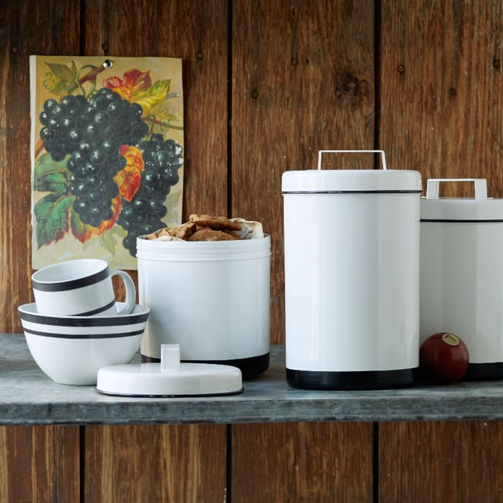 White Enamel Canisters