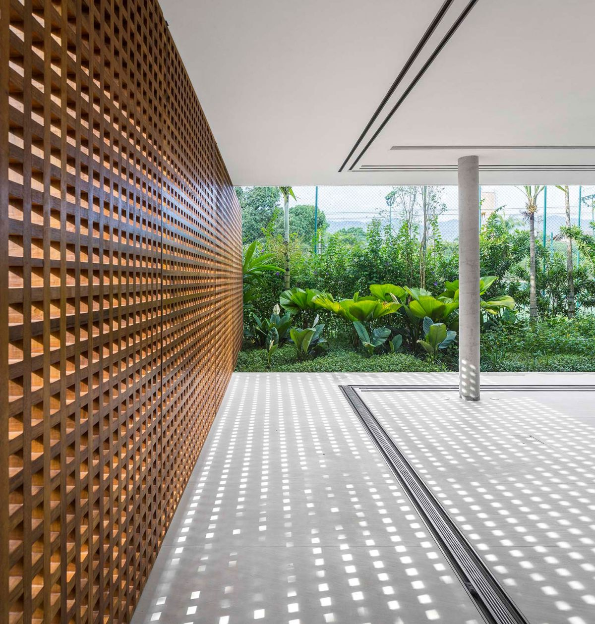 White House in Brazil perforated walls adjacent to glass