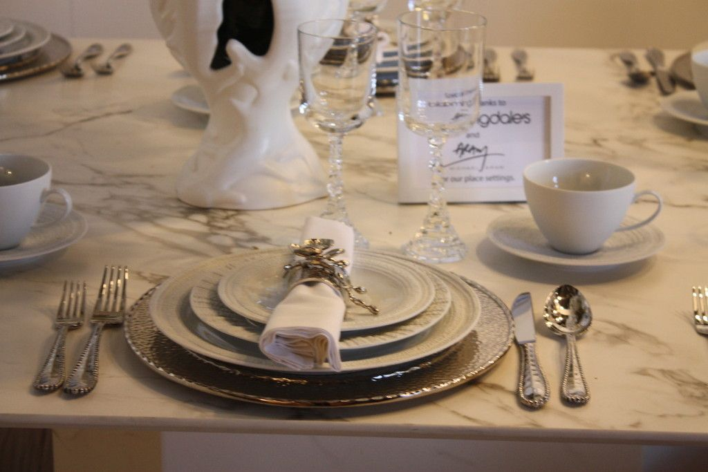The place settings from Bloomingdales are elegant and formal.