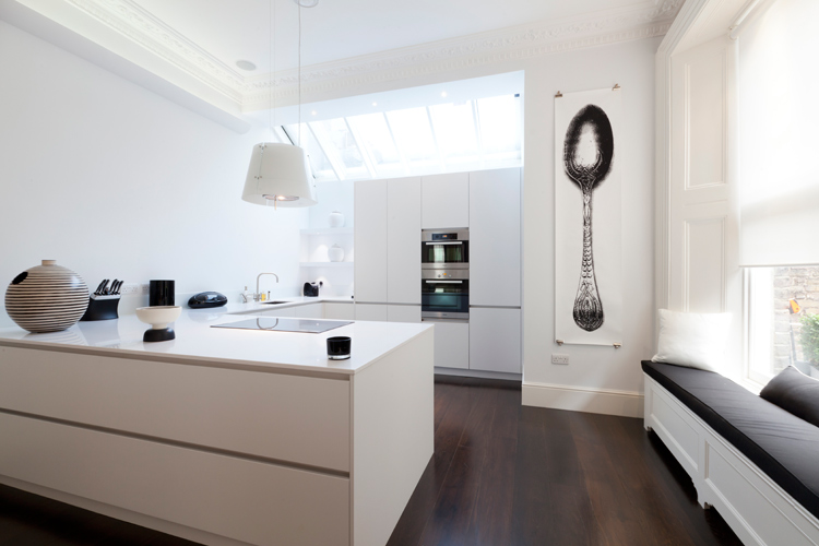 White kitchen design with built in appliances