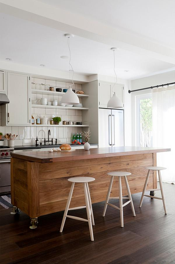 Wooden kitchen island on wheels