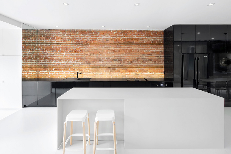Working with exposed brick walls in kitchen