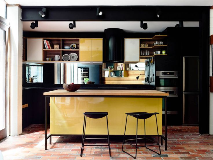 Yellow and black kitchen design
