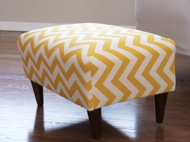 Yellow chevron design for an ottoman