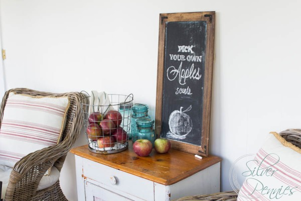 apple picks framed chalkboard sign