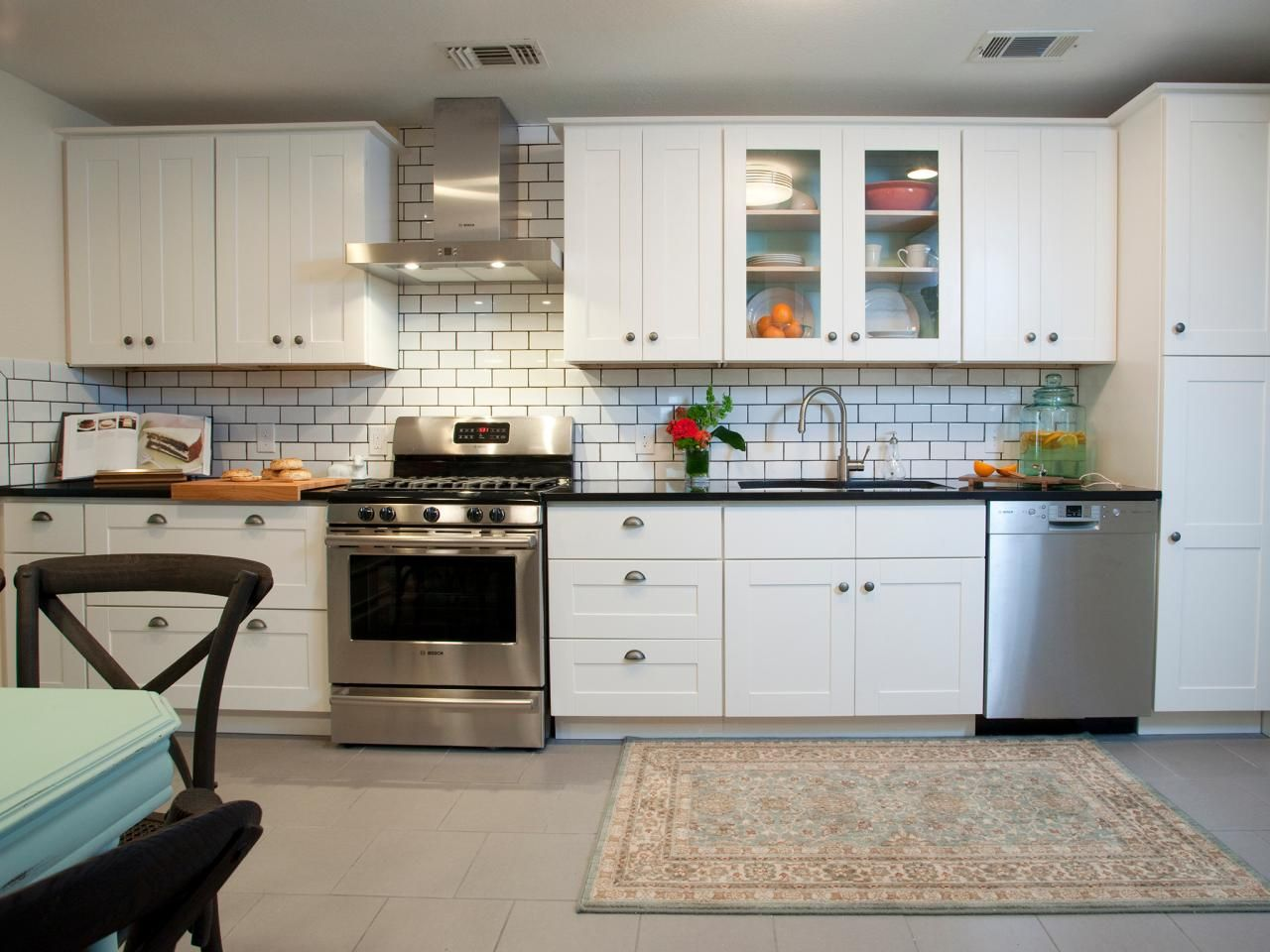 contemporary white kitchen with subway tiles : kitchen-with-subway-tile - designwebi.com