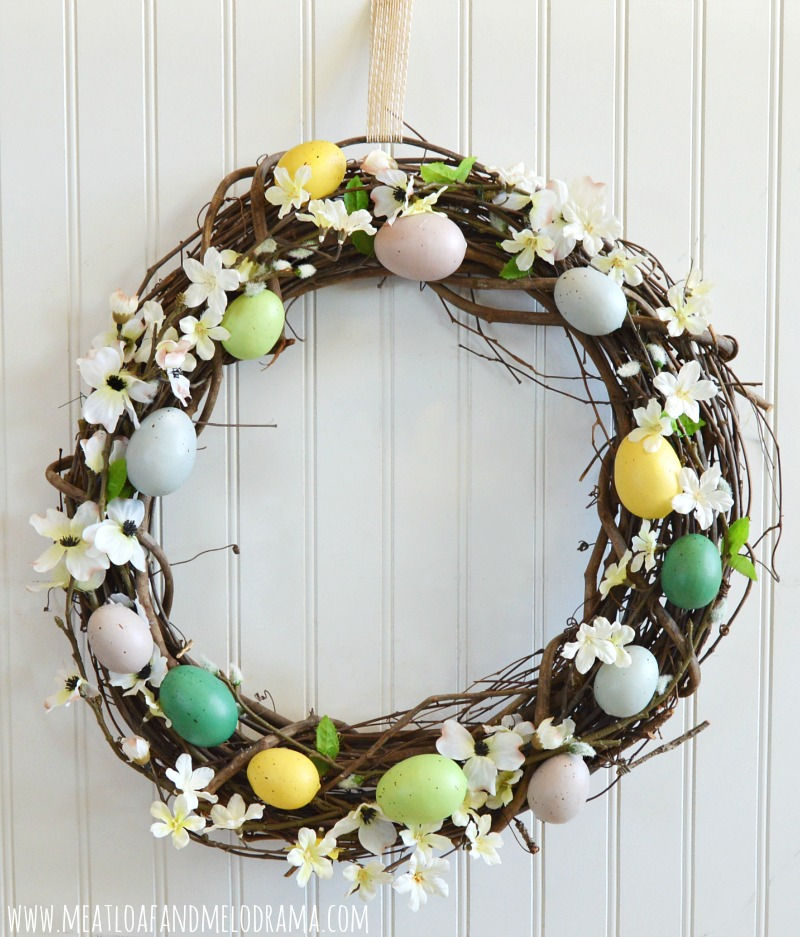 grapevine wreath with eggs for front door easter