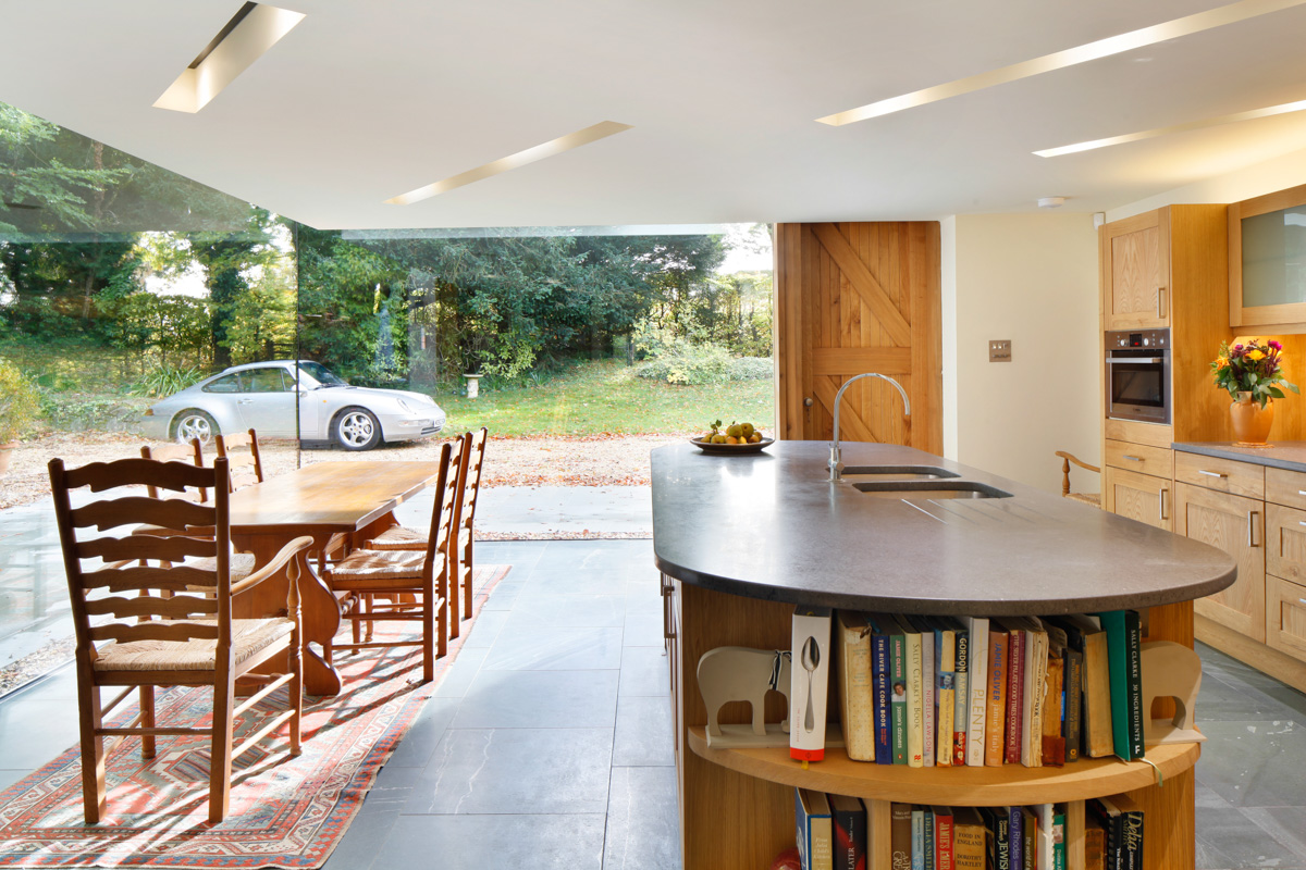 A Cantilevered Glazed Extension by Stephen Marshall Architects Kitchen island