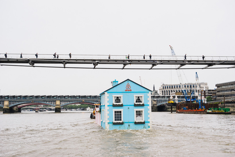 Airbnb floating house in London colorful