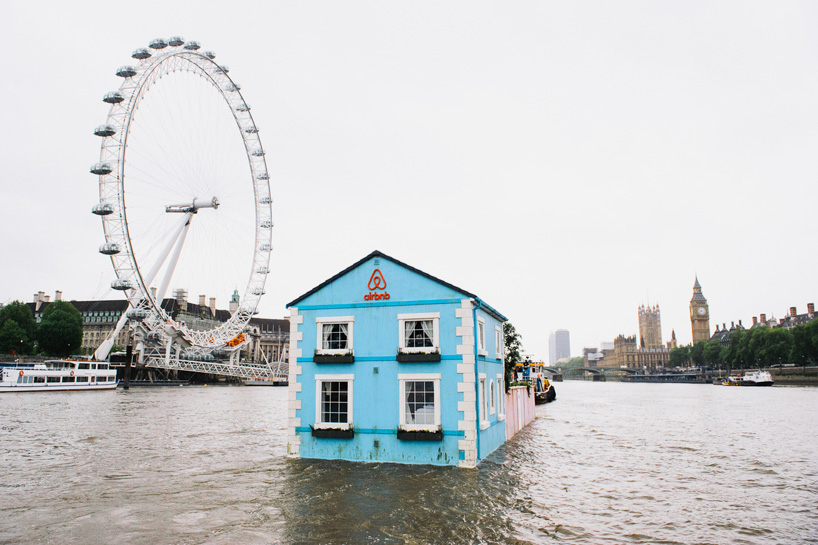Airbnb floating house in London view