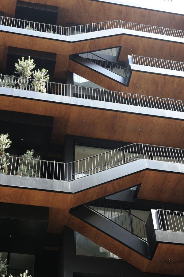 Balconies paneled with wood