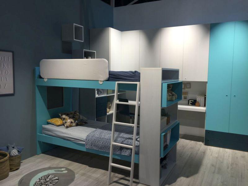 Blue bunk beds room