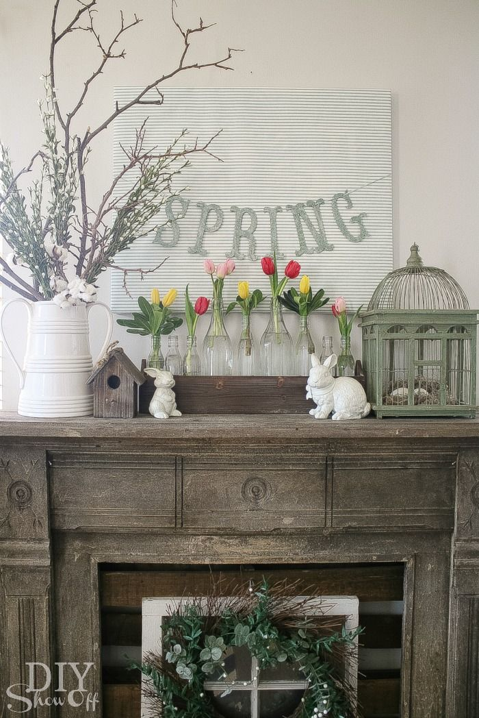 Branches mantel decor