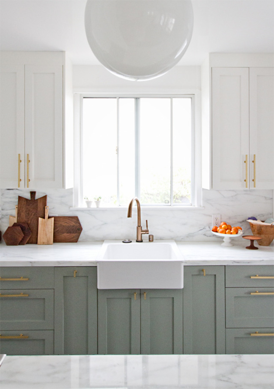 10 ways to add brushed brass into your home for Brushed sage kitchen cabinets