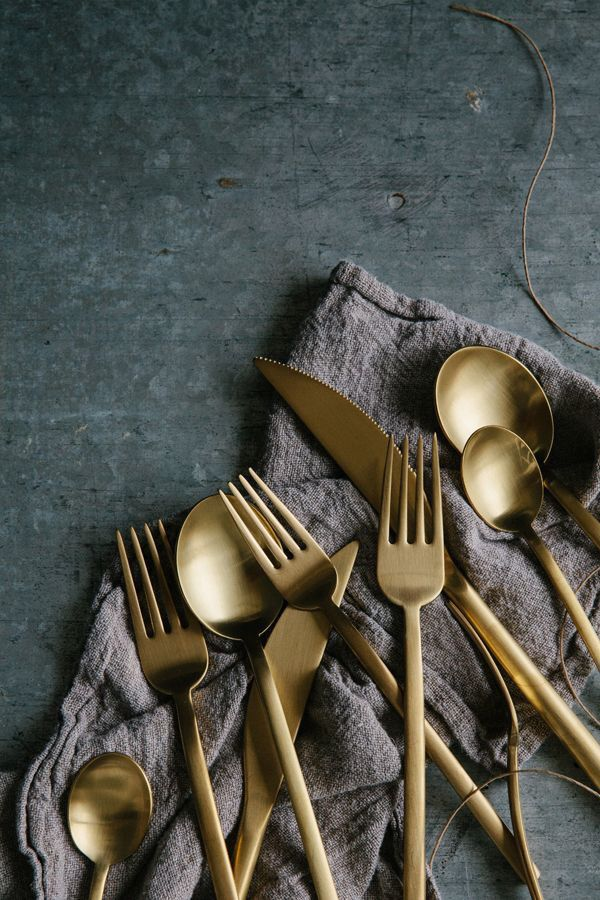 Brushed brass cutlery