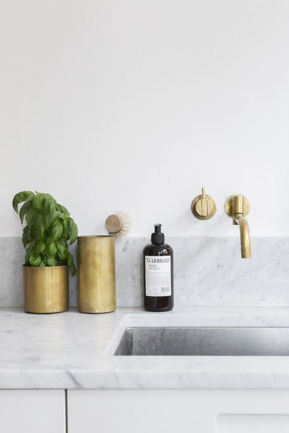Brushed brass kitchen accessories