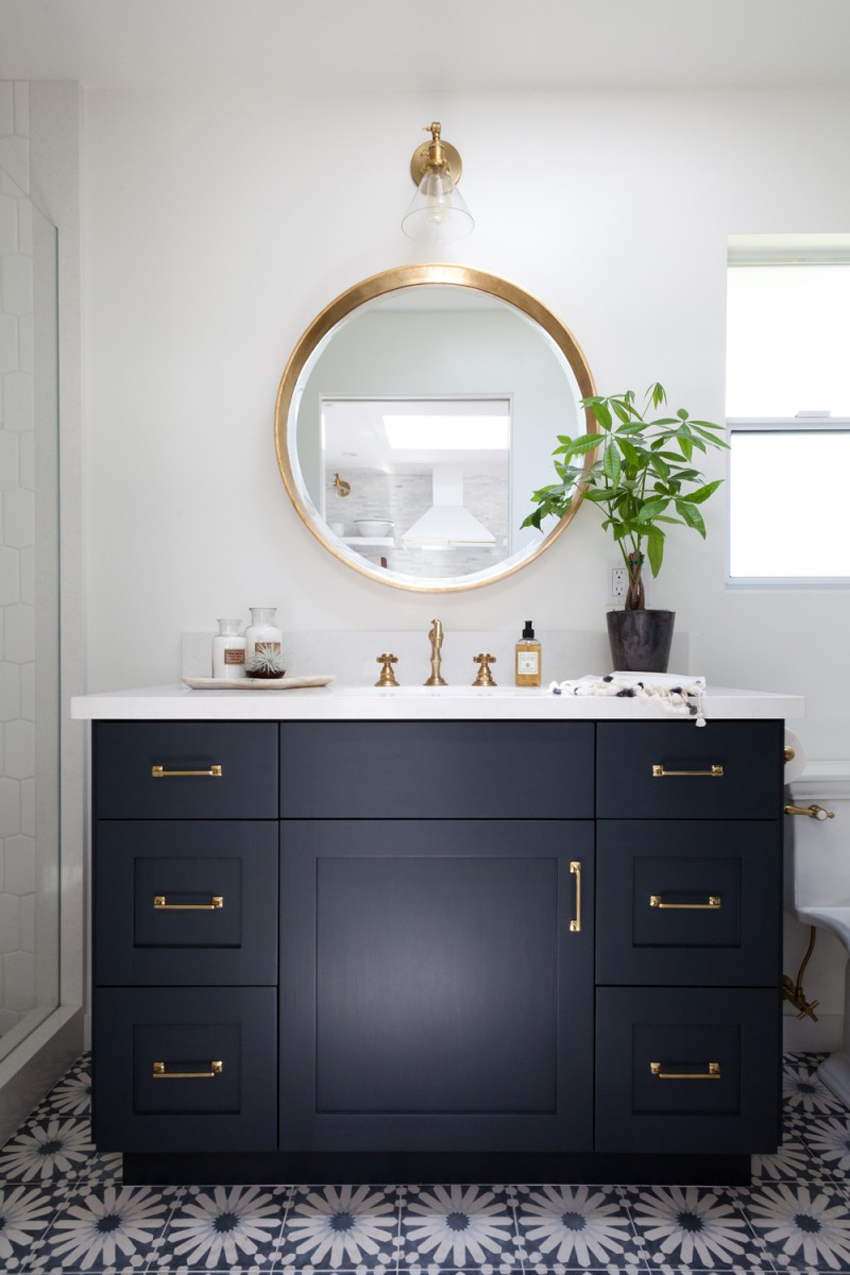 Brushed brass mirror