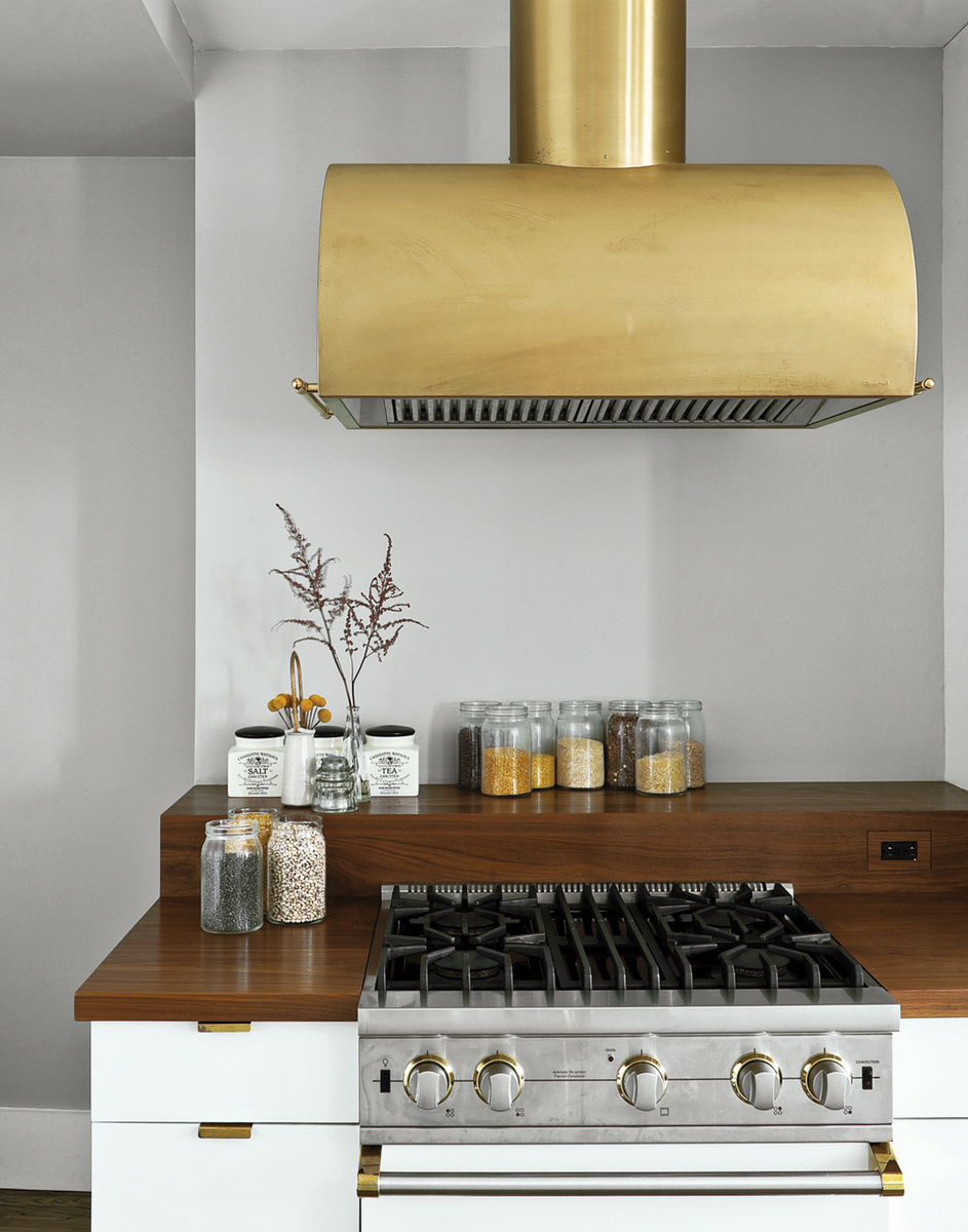 Brushed brass range hood