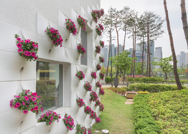 Built in flower pots on wall