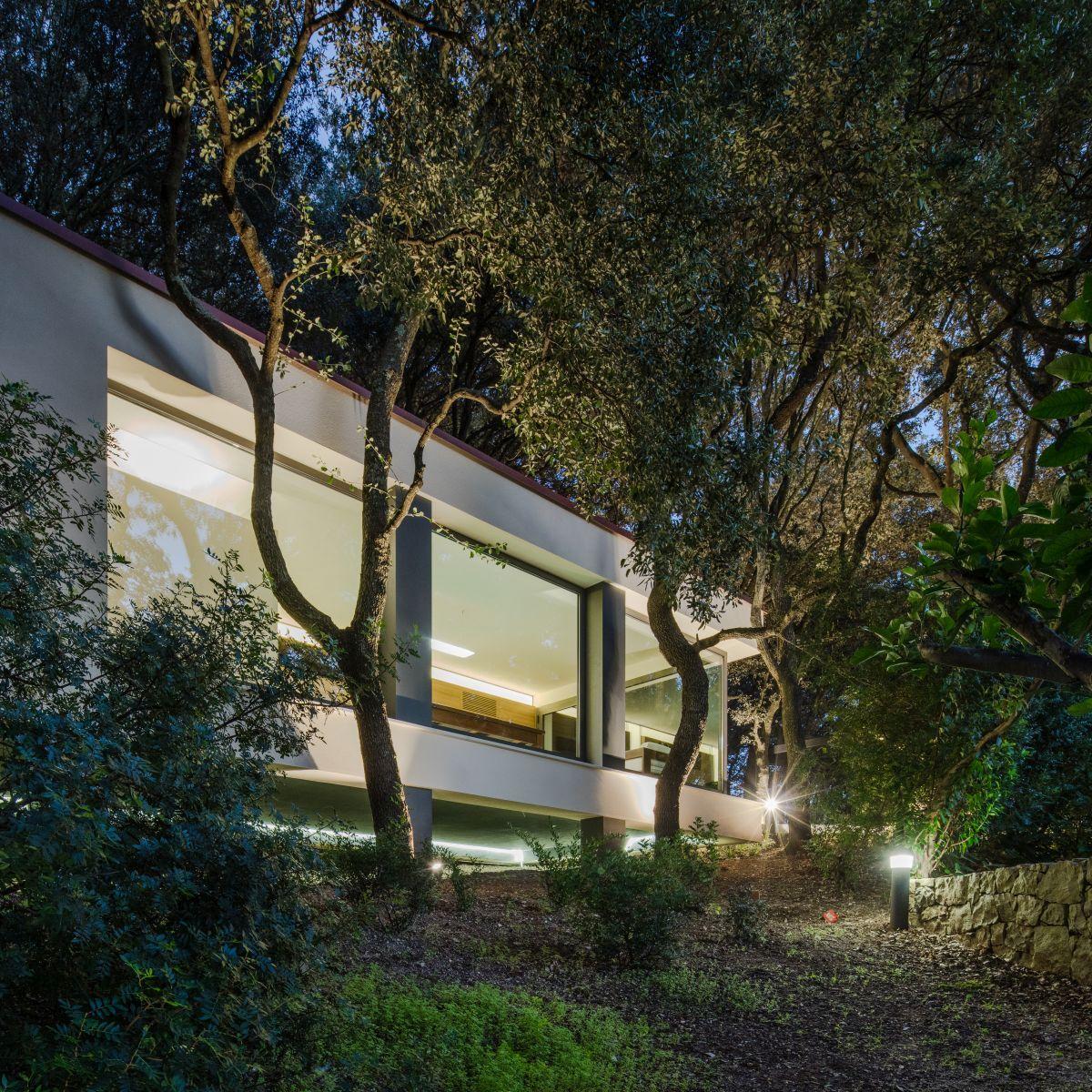 Casa nel Bosco lights up at night