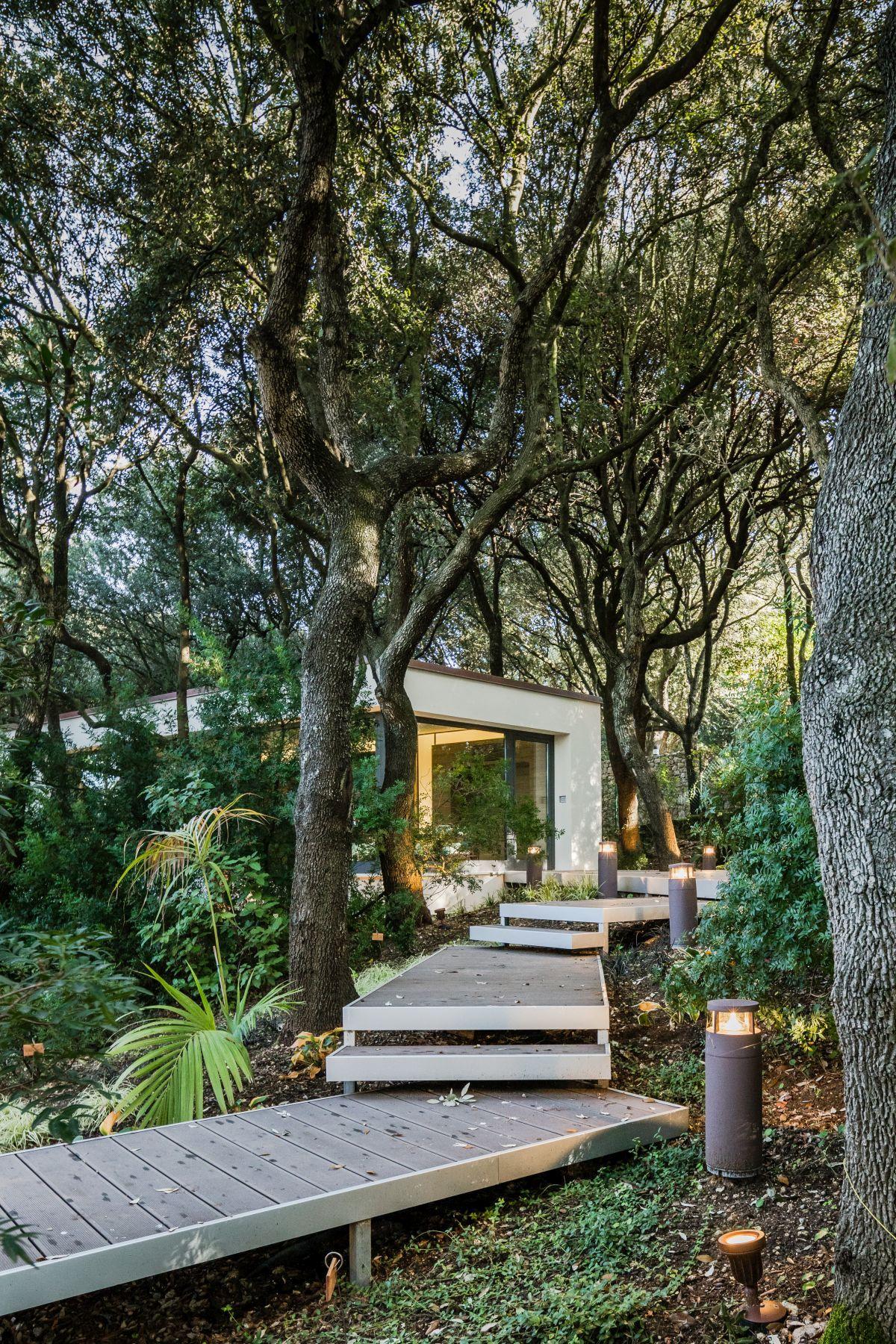 Casa nel Bosco wooden walkway between trees