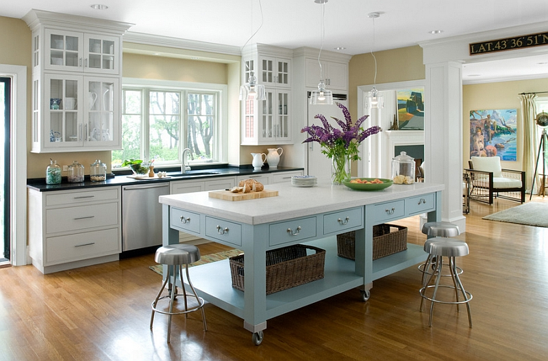 Charming kitchen island on wheels