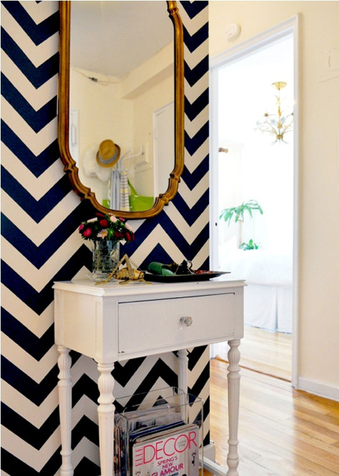 Chevron wallpaper for entryway