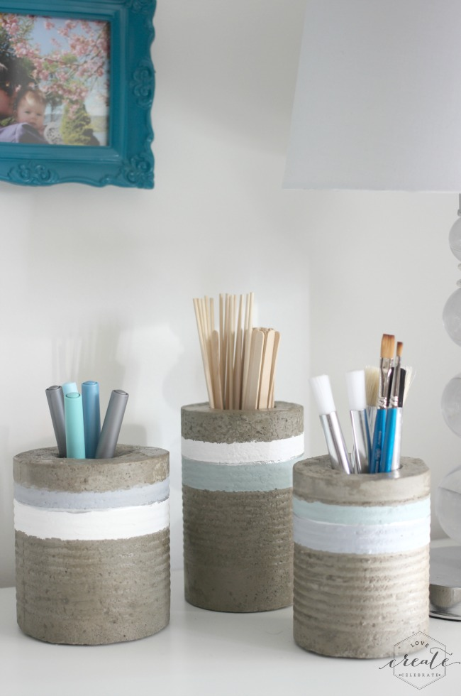 Concrete vases from tin cans