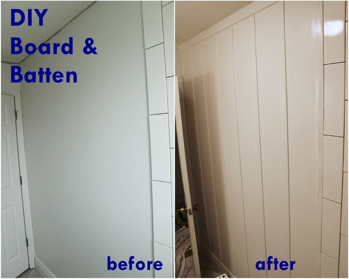 DIY Board and Batten - before and after